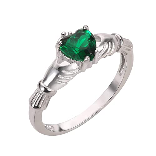 CloseoutWarehouse Simulated Emerald Cubic Zirconia Claddagh Benediction Ring Sterling Silver Color Options, Sizes 3-15