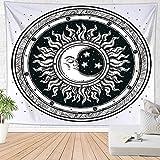 Brandless Sun Moon Hippie Hippy Tapiz Tapiz de Pared Decoración Bohemia Playa Mantel para Dormitorio Dormitorio (180x230cm)