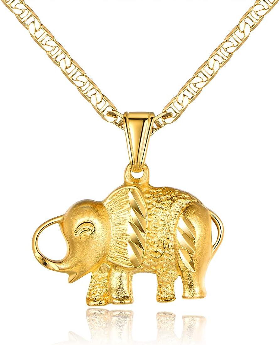 Barzel Elephant Necklace for Women, Men, Boys, and Girls 18K Gold Plated Flat Mariner/Marina 060 3MM Chain Necklace Elephant Pendant
