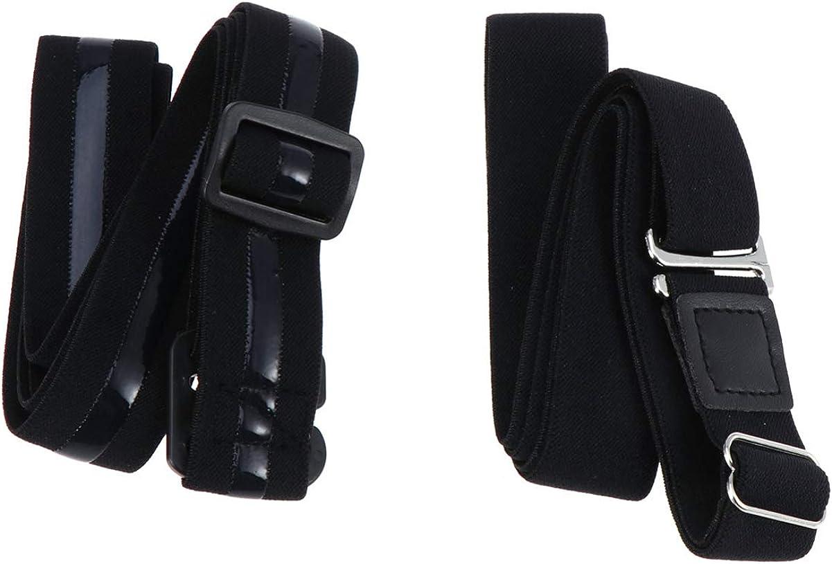 SUPVOX 2pcs Mens Shirt Stays Shirt Lock Belts Adjustable Elastic Shirt Holders Keeps Shirt Tucked in for Adults (2 Style, Black)