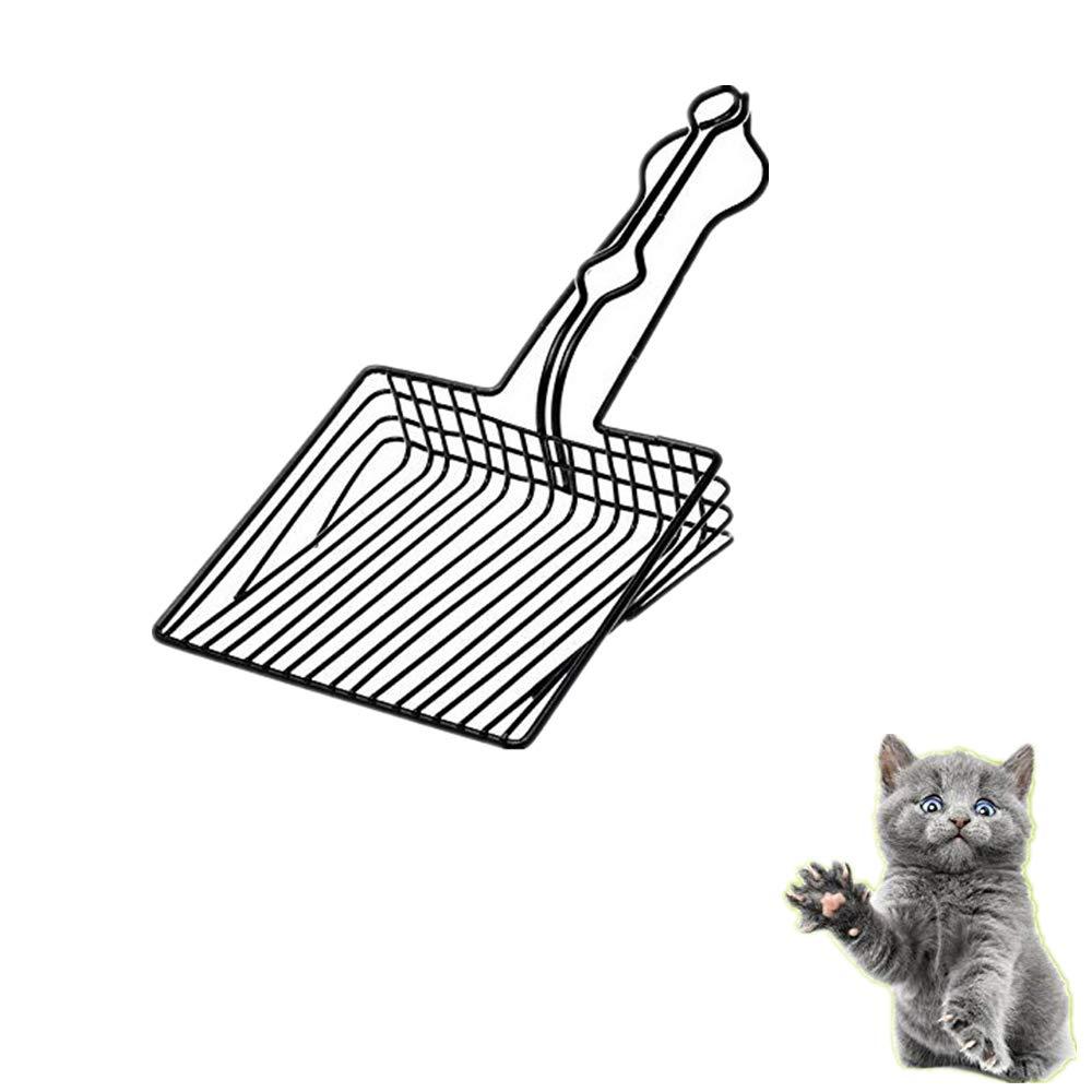 Cucharada de la litera del gato del metal, pala limpia del retrete durable del animal doméstico del hueco del acero inoxidable con la manija larga: Amazon.es: Hogar