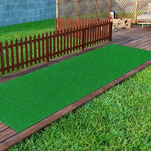 Ottomanson Evergreen Artificial Turf Runner Rug, 2'7' x 8', Green
