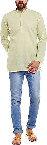 Royal Sojanya Hommes's Cotton Linen courte Kurtas Medium Limevert