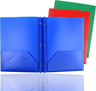 GIFTEXPRESS Pack of 3, RGB Solid Color 3-Prong Poly Portfolio with 2 Pockets, Two Pocket Poly File Folder, 3 Hole Plastic Folder-Strong and Durable Plastic