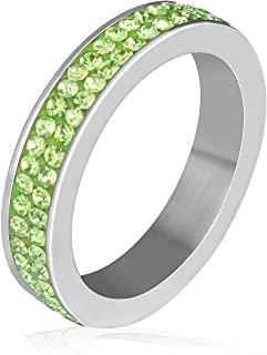 Full Around Cubic Zirconia Double Row Ring Stainless Steel Classic Bright Color Stackable Eternity Engagement 4mm Bands fo...
