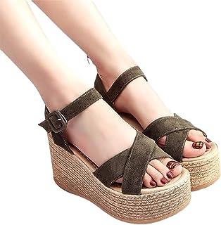 Wedges Sandal Summer Suede Espadrille voor Dames, Dames Enkelband Open Teen Platform Sandalen,Green,37