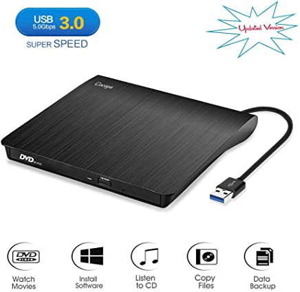 $23 Get [Updated Version]Cocopa External CD DVD Drive USB 3.0 Portable CD DVD +/-RW Drive Slim DVD/CD Rom Rewriter Burner Writer, High Speed Data Transfer for Laptop/Macbook/Desktop /MacOS/Windows10/8/7/XP/Vi