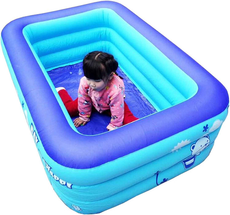 LEGOUGOU Warmes Haus-erwachsenes faltendes aufblasbares Badewannen-Erwachsener Kinder Plastikbadewannen-bezugsloses Rechteck für Garten drauen Umwelt PVC Blau Schaumbad (Größe   128  89  48cm)
