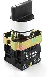 Sourcingmap - Clave rotativo 3 posiciones de inicio de bloqueo de empuje interruptor de botón 600v 10a 2no