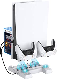 NexiGo PS5 Accessories Stand with Cooling Station for Playstation 5 Disc & Digital Editions, Dual Controllers Charger, Ext...