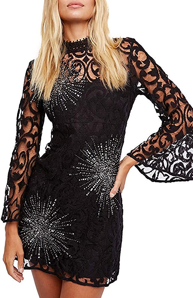 Free People Womens North Star Bell Sleeve Sequined Mini Dress