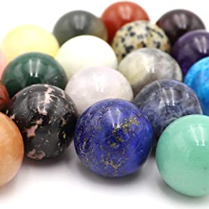 ZZKOKO Gemstones for Kids, 20PCS Handicraft Natural Gemstone Rocks Set, Mineral Polished Natural Stones from Around The World, Decorative Stones Ball Rock and Mineral Educational Collection Gem Kit