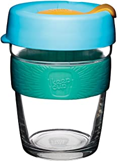KeepCup 12oz Reusable Coffee Cup. Toughened Glass Cup & Non-Slip Silicone Band. 12-Ounce/Medium, Breeze