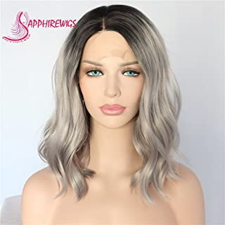 Sapphirewigs Short Water Wave Black Roots Ombre Gray Color Water Wave Blogger Celebrity Women Gifts Daily Makeup Synthetic Lace Front Wedding Party Wig