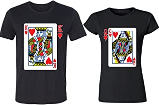CRAZYDAISYWORLD Poker Card King and Queen Couple Tshirts