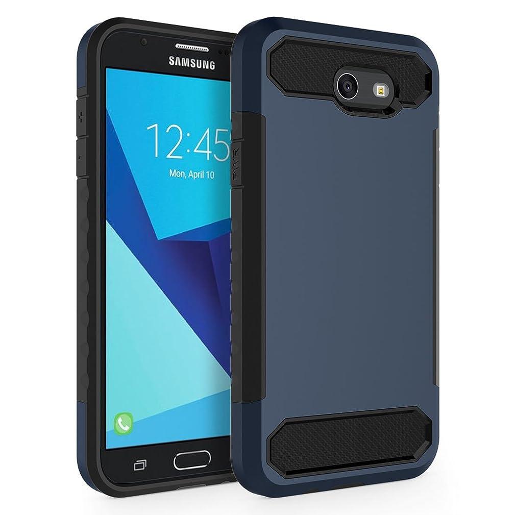 Case for Samsung Galaxy J7 V 2017 (1st Gen)/ Galaxy J7 2017 / Galaxy J7 Prime/Galaxy J7 Perx/Galaxy J7 Sky Pro/Galaxy Halo, SYONER [Carbon Fiber] Protective Phone Case Cover [Blue/Black]