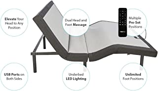 Ghostbed Queen Custom Adjustable Power Base | Dual Interactive Massage | Wireless Backlit Remote | USB Ports on Both Side | Under-Bed LED Lights | Adjustable in a Box