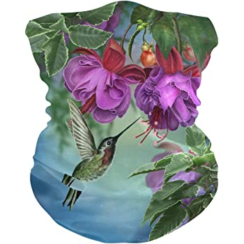 Hummingbirds Pink Flower Face Mask UV Sun Mask Dust Wind Neck Gaiter Magic Bandana