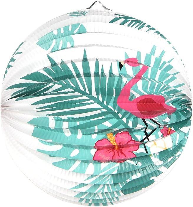 Summer Party Decoration Lampion Papier avec Flamants Roses D/écoration et Feuille de Palmier Deco Chambre Jardin Fete 6pcs