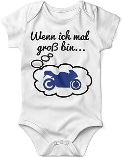 Mikalino Babybody mit Spruch für Jungen Mädchen Unisex Kurzarm Wenn ich mal groß Bin. Motorrad | handbedruckt in Deutschland | Handmade with Love