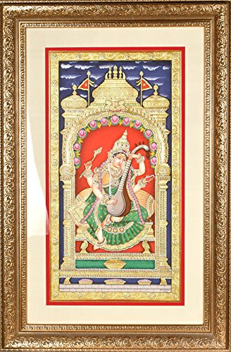 Exotic India Goddess Saraswati Also Named Sharada, Playing on Vina - Tanjore Painting on Board - Traditional Colo