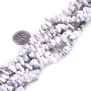 5-8mm Natural White Howlite Chips Chip Beads Loose Gemstone Beads for Jewelry Making Strand 35 Inch
