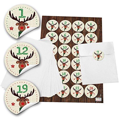 24 witte adventskalender zakjes (13 x 18 cm) en 24 ronde stickers 4 cm