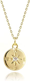 14K Gold Plated Compass Round Disk Pendant Necklace for Best Friends