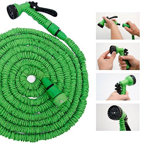 Hochwertiger Gartenschlauch Flexibler Wasserschlauch Schlauch 7-15 m inkl 7fach Multifunktions Sprühkopf - 9