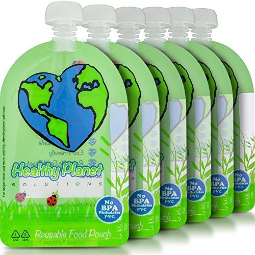 Healthy Planet Solutions Clear Plastic Reusable Baby Food Storage Pouch - Washable...
