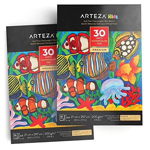 Arteza Kinder Aquarellblock, DIN A4, 21cm x 29,7cm, Malblock 2er-Set mit jeweils 30 Blättern, festes Papier 200 g/m², für Aquarelltechniken und Mischtechnik