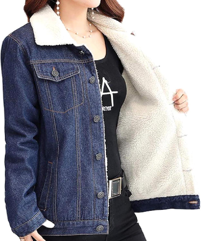 Doanpa Women's Quilted FoldCollar Slim Casual Cowboy Coat Jacket