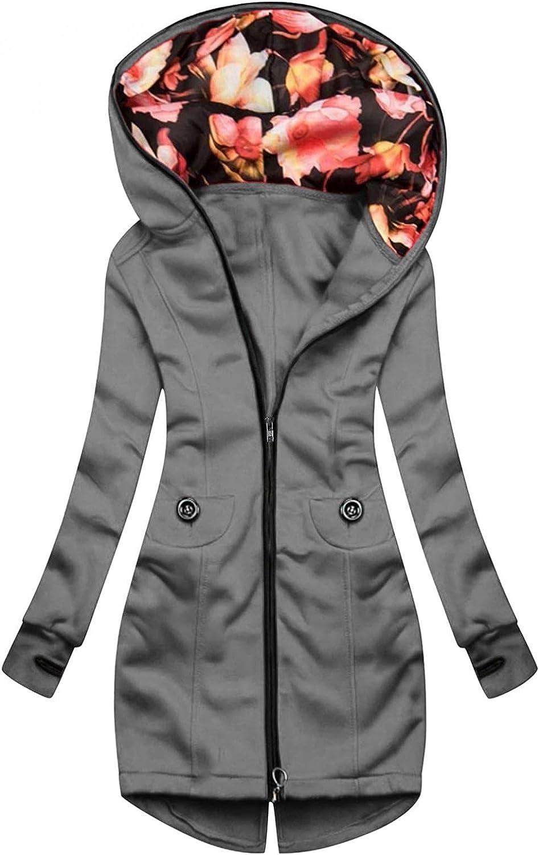 FABIURT Zip Up Sweatshirt for Women,Women's Fashion Floral Hoodie Long Sleeve Hooded Sweatshirts Pockets Jacket Coat