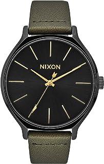 NIXON Clique Leather A1250 - أسود/إرهاق - 50 متر ساعة تناظرية كلاسيكية للنساء (وجه ساعة 38 مم، حزام جلدي 17 مم - 15 مم)