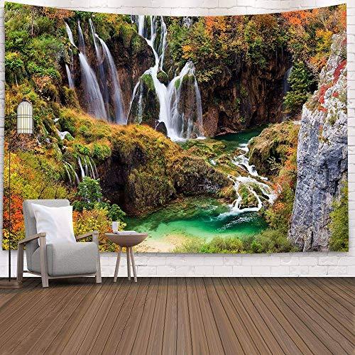 KHKJ Tapiz de Cascada 3D Natural Toalla de Playa Paisaje Bosque primitivo Impresión de Corriente Alfombra de Pared Arte del hogar Tapiz Decoración A24 200x150cm