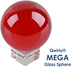 Qwirly MEGA Glass Ball with a Crystal Stand - Living Room, Kitchen, Bedroom, Outdoor Decor - Photo Prop, Party or Wedding Decoration, Divination and Healing Rituals - 3.15