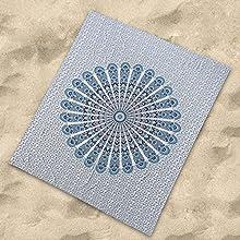 Sibiles - Pareo Grande de Playa para Suelo 100% Algodón de 210x230 cm Mandala Yurena Azúl