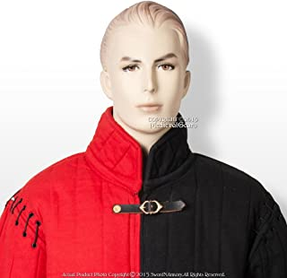 Large Red and Black Black Medieval Gambeson Type I Padded Jacket Coat SCA WMA LARP