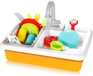 Pretend Play Kitchen Accessories Toy Sink Playset with Running Water and Plates Dishes Utensils Set Dishwasher Cookware Drainer Gift for Kids Toddlers Child Baby Girl and Boy Toys Age 3 4 5 6 7 Year