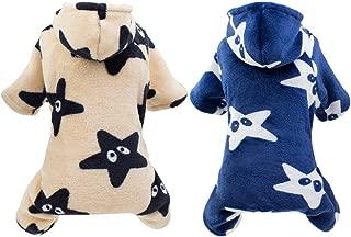 Handfly Mono de Pijama de Perro, Pijama de Estrella de Cachorro de Lana de Coral, suéter de Jersey de Gato de Perro de Mascota pequeña Ropa de Abrigo