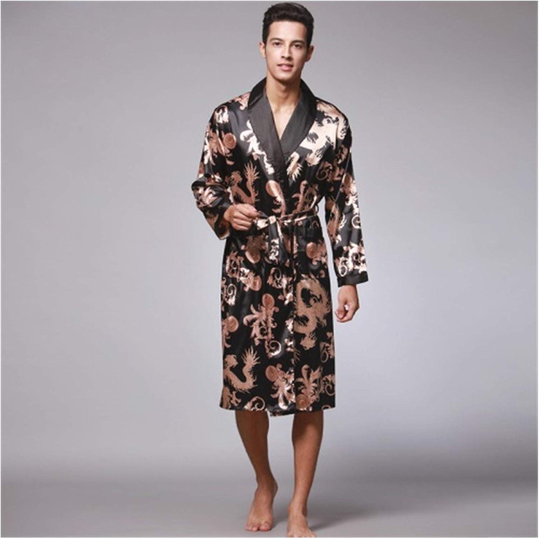 Spring Autumn Men's Bathrobes Printed Male Pajamas Full Sleeves Nightwear Sleepwear Satin Silk Robe Pyjama Belt Men Robe (Color : Black, Size : 2XL)