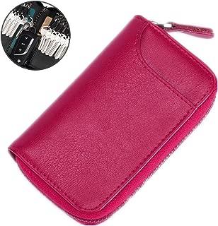 Large Zipper Leather Car Key Case by BAKUN, Key Holder Key Organizer Wallet, with 16 Hooks(Rosered)