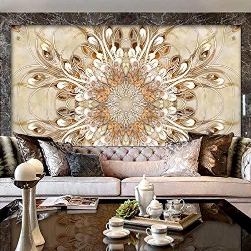 Papel pintado 3D personalizado con patrón de flores de mármol, murales de pared, estilo europeo, para sala de estar, fondo de televisión, papel de pared para decoración del hogar, 200 x 140 cm