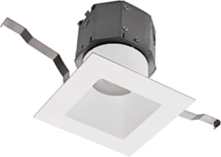 WAC Lighting R4DSDR-F930-WT Pop-in 4in Square Recessed Kit 3000K in White LED Light Fixture, Single