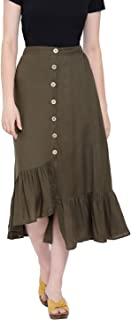 oxolloxo Women's Viscose Solid Skirt (Green)