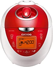 Cuckoo CRP-N0681FV Multifunctional & Programmable Electric Pressure Rice Cooker 6 Cup Diamond Coated Pot Fuzzy Logic & Intelligent Cooking, 3 Language Voice Navigation, Vivid Red