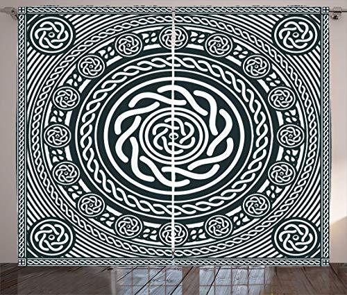 Ambesonne Celtic Curtains, Irish Circular Design Clockwise Twisty Spiral Lines Insular Art, Living Room Bedroom Window Drapes 2 Panel Set, 108' X 84', Royal Blue White