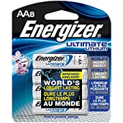 Energizer Ultimate Lithium AA Batteries, World's Longest-Lasting AA Battery, 8 pack