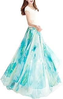 Boho Floral Long Summer Beach Chiffon Wrap Cover Up Maxi Skirt for Women