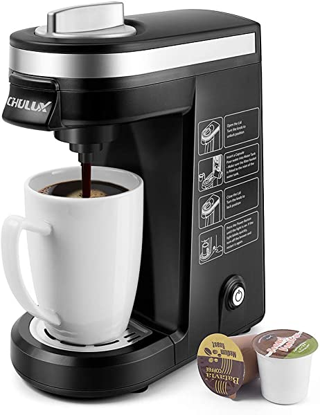 CHULUX Single Serve Coffee Maker Brewer For Single Cup Capsule With 12 Ounce Reservoir Black